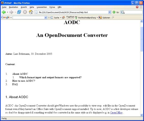 Firefox displaying the converted OpenDocument Helpfile