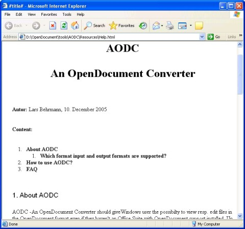 Internet Explorer displaying the converted OpenDocument Helpfile