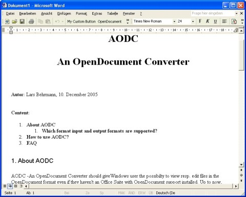 Word displaying the converted OpenDocument Helpfile
